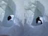 雪壁を登り終え雪庇のトンネルに入ってくるSさん