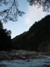 朝日に輝く硫黄尾根の岩峰