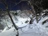 樹林帯のラッセルから左俣の開けた雪面へ逃げたが・・・