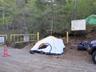 テントポールなしでもきれいに張られているテント