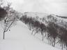 雪庇の発達した阿能川岳頂稜まであと少し