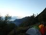 テン場から見えた地蔵岳と富士山